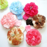 high quality 12sets/lot  Peony Baby Crystal Flower Headband many colors can be choosen