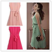 new fashion summer chiffon sleeveless plus size bandage waist pleated women casual vestidos femininos dress party dresses 2014