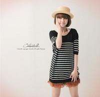 2013 Free Shipping New Women's Stylish Stripe Round Collar All Match Sweater Black SF12062905