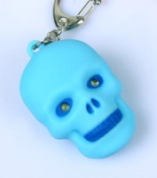 Skull led keychain with sound With 2 led light Cute Gift Ring 5PCS/Lot