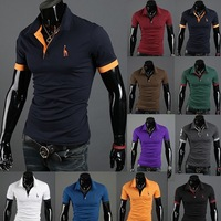 Free Shipping Hot Sell 2013 New Brand Fashion Slim Fit Casual Polo Men Shirts  4 Size 10 Colors