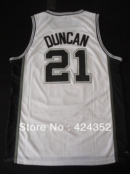 free shipping top quality mens basketball jerseys San Antonio Tim Duncan no.21 customize name number team logo white gray black