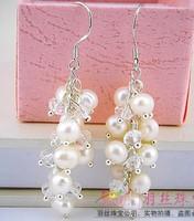 free shipping grape shape 5-6mm AAA grade pearl earrings for women
