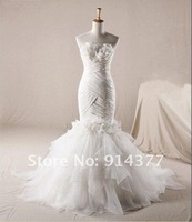 Wholesale - Real sample Mermaid Strapless Taffeta Organza Court Wedding Dresses Bridal Gown Gowns Dress Custom