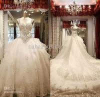 Wholesale - Hot Sell White Spaghetti Crystal Long Tailing /Bridesmaid Dress (Custom made)