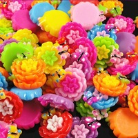 50PC mixed Sunflower Flower Flat Backed Resin Flatback Button