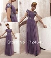 New Arrivlal 2013 Long Purple  Tulle Stright Ammerical Chiffon  Beaded  Elegant  Cheap Simple Ruffles Evening Dress Prom Dresses