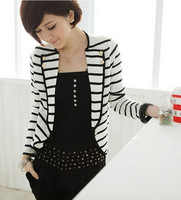 2013 summer autumn casual all-match stripes blazer women's outwear fashion coat free shipping