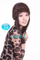 Mink knitted hat screw cap general fur cap mink hair cap