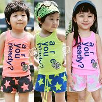 2013 summer star paragraph boys clothing girls clothing baby child vest t-shirt shorts set tz-0171