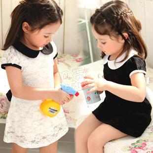 2013 summer lace princess girls clothing baby child qz-0703 short-sleeve dress