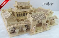 Creative gifts wooden house scene model Shaolin Hand assembled 3D DIY house ancient architecture Puzzle toy