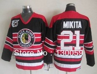 Free Ship! 2013 New Cheap Ice Hockey Jerseys Men's Chicago Blackhawks #21 Stan Mikita Red Black In Stripe 75th Hockey Jersey
