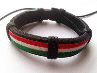 Hemp red white green Italy Flag Surfer Strand Adjustable unisex leather plait bracelet wristband bangle
