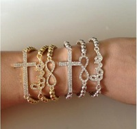 Bulk 6 Pcs Gorgeous Elastic Bead Bracelet  Love/Infinity/Cross Bangle Silver & Gold Tone