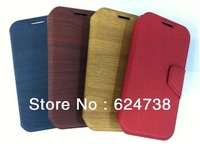 Good quality Wood style leather case For S4 SIV I9500 back flip leather case with nice surface and free shipping.