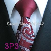 YIBEI Coachella ties SKINNY Tie New Design Dark Red Knot Contrast  With Silver Paisley Florals Microfiber Necktie SLIM Tie