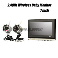 2.4GHz wifi wireless wireless baby video monitor + 7 inch TFT LCD with 2 cameras Free Shipping wholesale