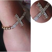 New Trendy Bracelet Crystal Rhinestone Cross Chain Bangle Elasticity Gold/Silver  Tone
