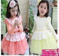 New arrival Korean style fashion bubble lace sleeves children girl princess autumn tulle dress pink light yellow 4pcs/lot sale