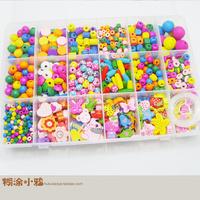 Child educational toys princess jewelry box eco-friendly wooden beads beaded plus size set