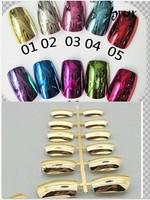 Free Shipping Wholesale Nail Supplies 10 colour Metallic Chrome Gold Full Cover Artificial False Acrylic Nail Tips 50sets/bag
