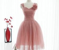 2013 new fashion elegance Short design  soft tulle  straps bridesmaid dress