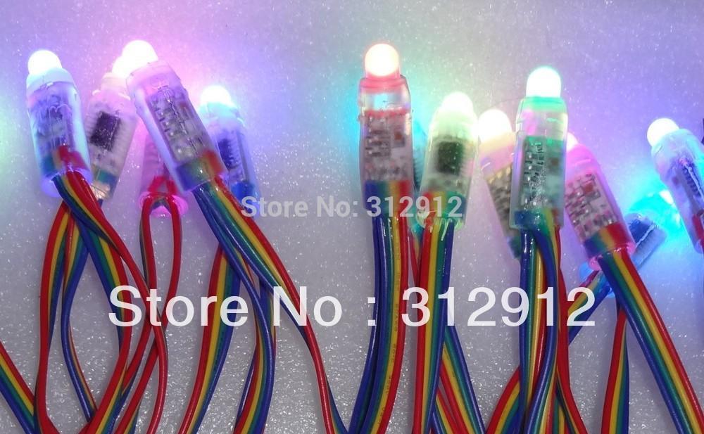 Ip68 dc5v 12mm ws2801 pixel module, full color; une chaîne 50 pcs; 256 échelle de gris, rempli de résine époxy