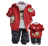Children's clothes kids fashion suit baby sets,autumn 3pcs set Outerwear+T-shirt+Pants for boys,3size*2colors free shipping