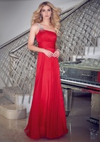 2013 Free shipping elegance Red spaghetti strap chiffon long design noble party dress dinner one shoulder  evening dress gown