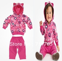 Free Shipping 2013 new Autumn Baby girl clothing  Girl heart design hoodied jacket + Pants 2pcs Suit ,