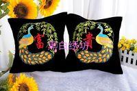 Ribbon embroidery pillow cushion car pillow c-039 peacock rich