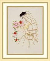 Ribbon embroidery paintings kit paintings print cross stitch elegant bride