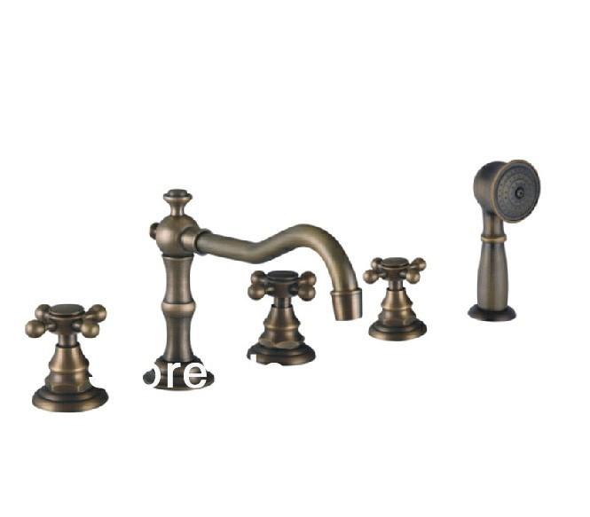 Antique brass 5 piece faucet bath Set Bathroom Mixer Deck Mounted Brass Tap(China (Mainland))