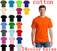 European fashion cotton men's short sleeve T-shirt ,24 colours of men's leisure T-shirt, candy color casual clothes plus-size