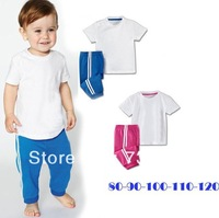 10New arrival 2013 baby clothing sets Wholesale boy and girl sport sets/shirt+pants/baby wear/kids clothing/2 sets/baby clothes