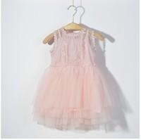 DS3182  Girls mesh ball gown cotton liner dress 5pcs/lot
