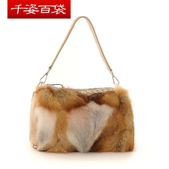 2012 women's cowhide handbag fashion noble fox fur diamond bag messenger bag small bags female