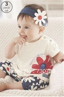 10 2013 New arrival Baby suit Girl's summer clothing sets kids wear : hair band + flowers short sleeve + pants