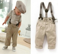 Newest 5 sets/lot Baby Toddler Infant boy retro handsome summer clothing set(short sleeve+suspender trousers) kids garment Suit