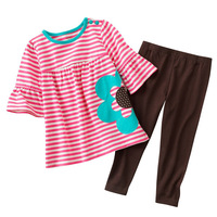 2013New !Carter's kid's Cartoon long sleeve shirt +casual pants sets,girl's 2pcs suit,childrens clothes sets.Classic style