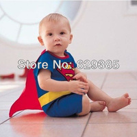 Retail Infant Rompers Boy's Girl's Wear,Baby Muscle Superman Costume Cotton cloth 2 Color blue/gray