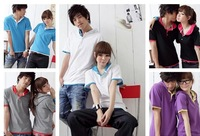 2013 New Fashion Couple Lover Short Sleeve Summer Color Block Comfortable T-shirt ZX12010604 M L XL XXL White/Blue/Purple