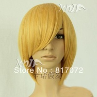 Anime wig cosplay wig high temperature wire gold stubbiness msn cos wig