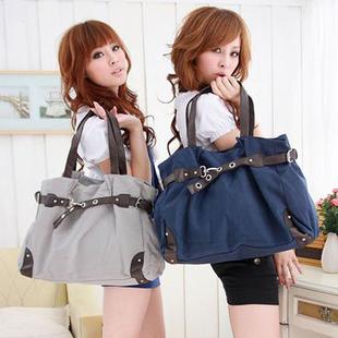 2013 solid color vintage fashion large capacity canvas bag casual bag women's handbag shoulder bag