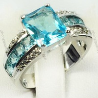 Jewellery New Aquamarine topaz 10KT white gold Plated Ring size 8 hot sell Zircon ring women rings