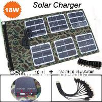 Foldable Solar Charger 18W +Voltage regulator+10 in 1 usb cable( two output port DC5Vor 18V)