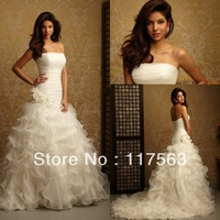 WATCH!!!Ball gown strapless ruffle sleeveless court train organza bridal dress wedding gown HS058
