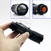 50PCS  Zoomable Mini LED Torch 3W 300LM Q3/XP LED Flashlight Adjustable Focus Zoom flash Light Lamp  FREE SHIPPING#DT023