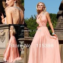 Вечернее платье из шифона персикового цвета